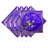 DollsofIndia Five Pieces Dark Purple Satin Silk Cushion Covers - Satin Silk