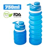 Anntrue Collapsible Silicone Water Bottle 750ML, 100% BPA Free, FDA Approved Food-Grade, Leak Proof, Foldable, Shatter-Proof Travel Water Bottles(Sky Blue) (Color: Sky Blue)