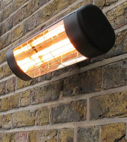 Wall Mounted Electric Infrared Halogen Patio Heater - Weatherproof IP55 - Black Cassette