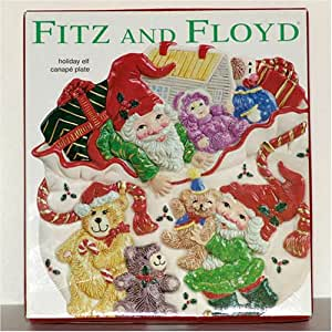 Fitz and floyd holiday elf canape plate home for Fitz and floyd canape plate