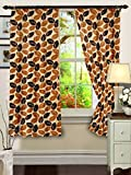 "Cenizas Fancy Polyster Window Curtain Set of 2 - 60""X48"", - Brown (CURT-N0009)"