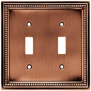 switch wall plate switch plate cover aged brushed copper light. Black Bedroom Furniture Sets. Home Design Ideas