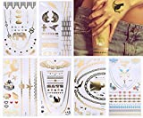 TAFLY Metallic Tattoos Gold and Silver Tattoos Stikcers Temporary Body Jewelry Fake Flash Tattoos for Kids 6 Sheets