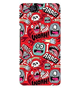 ANIMATED MONSTERS IN A RED BACKGROUND 3D Hard Polycarbonate Designer Back Case Cover for Micromax Canvas Knight A350
