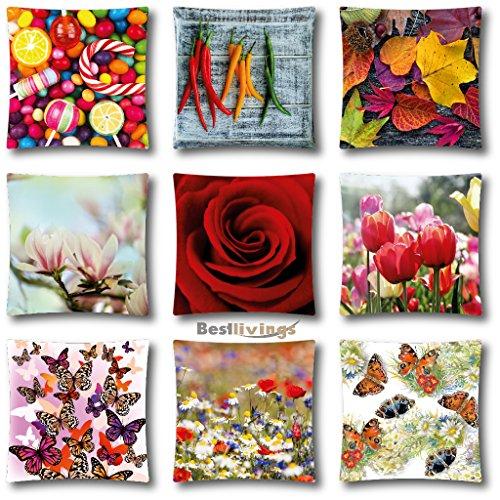 Kissen mit Motiv Fotoprint, abnehmbarer Bezug mit Reißverschluß Auswahl: Blätter 45x45cm -