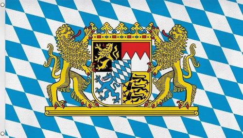 Fahne Bayern mit Löwen und Wappen 90*150 cm mit Ösen Farbe Bayern