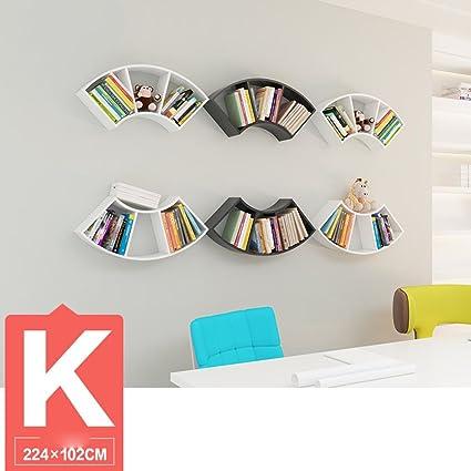 DZW Soggiorno Creative Fan Wall Shelves Camera da parete Librerie da parete Lattice Shelves Parete divisoria da studio Appendiabiti, 74,5 * 34cm, Più combinazioni , k combo,Semplice