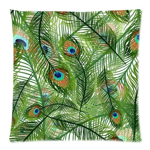 """Elegant Peacock Feather Print Custom Zippered Pillow Cushion Case Throw Pillow Covers 18""""X18""""(Two Sides) front-896784"""