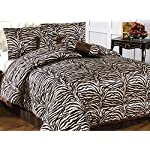 Animal Print Collections 7 Pieces, Dovedote Zebra Print Comforter Set, Queen, Brown
