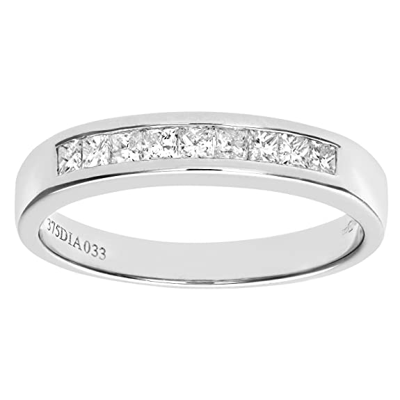 Naava 9 ct White Gold 0.33ct Princess Cut Diamond Channel Set Half Eternity Ring, White Gold, K