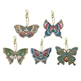 DIY Diamond Painting Keychains, Special Shaped Butterfly Diamond Painting Ornaments, Small Diamond Art for Kids and Adult Beginners (5pcs) (Color: Butterfly, Tamaño: one size)