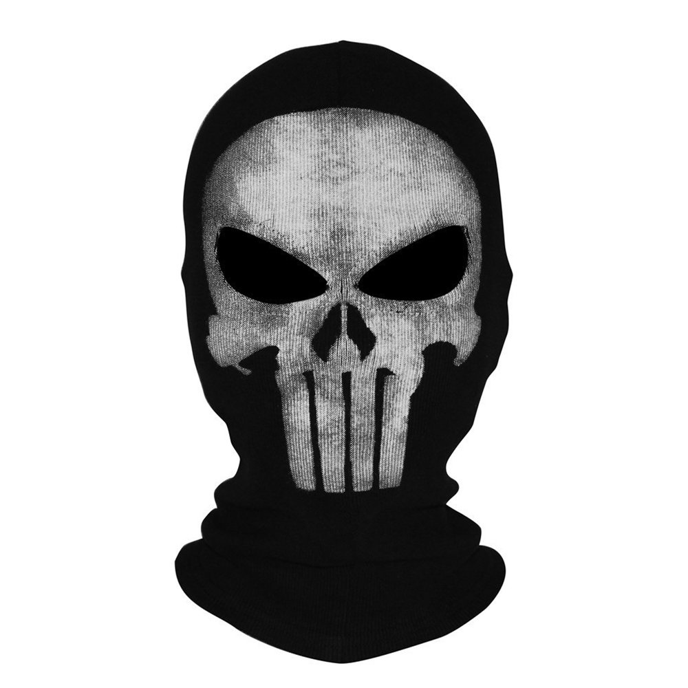 Skull Punisher Mask Bandana Ghost Full Face Balaclava Costume Headwear Tactical Hood Outdoor Clothing Warmer Neck Cover Gear for Cycling Motocycle Skiing Hunting Cosplay Paintball Airsoft Game, Black