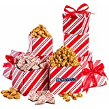 Merry Christmas, Happy Holiday, Gourmet Christmas Nuts and Chocolate Celebration Gift Tower