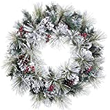 "24"" Flocked American Pine Artificial Christmas Wreath with Berries & Pine Cones"