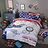 TheFit Paisley Textile Bedding for Adult U1543 American Speed Way Grade Duvet Cover Set 100% Cotton 500 Thread Count , Queen Set, 4 Pieces