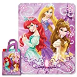 Disney Princesses, Glitter and Glitter Micro Raschel Throw and Reusable Tote Set, 40 by 50-Inch