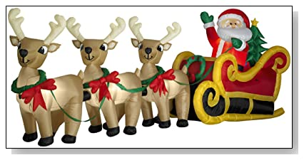 Huge 16 Foot Santa, Sleigh & 3 Reindeer Airblown Yard Display