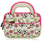 Evecase Cute Happy Farm Cow Themed Neoprene Carrying Sleeve Case Bag For 7 - 8 inch Kid Tablets (White & Pink Trim, With Dual Handle and Accessory Pocket)