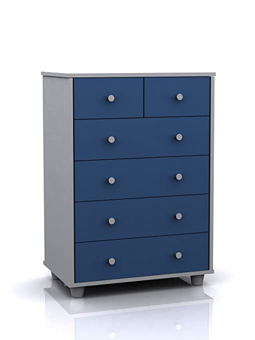Miami Blue and White Childrens 6 Drawer Chest (4+2) by Right Deals UK