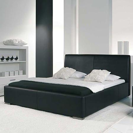 Schwarzes Polsterbett Leder Bett Allo Breite 158 cm Liegefläche 140x200 Pharao24