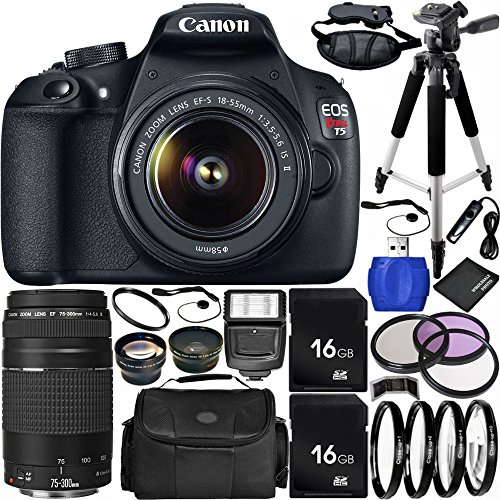 Canon EOS Rebel T5 DSLR Camera Bundle with 18-55mm f/3.5-5.6 IS II Lens, EF 75-300mm f/4-5.6 III Lens, Carrying Case and Accessory Kit (21 Items)