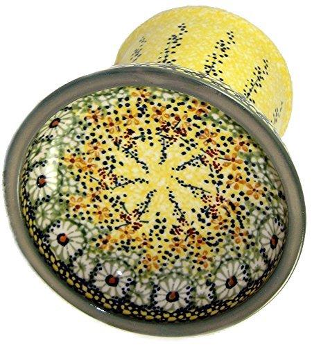 polish-pottery-raised-cat-small-dog-dry-food-dish-or-water-bowl-signature-rk52-roksana-yellow-and-gr