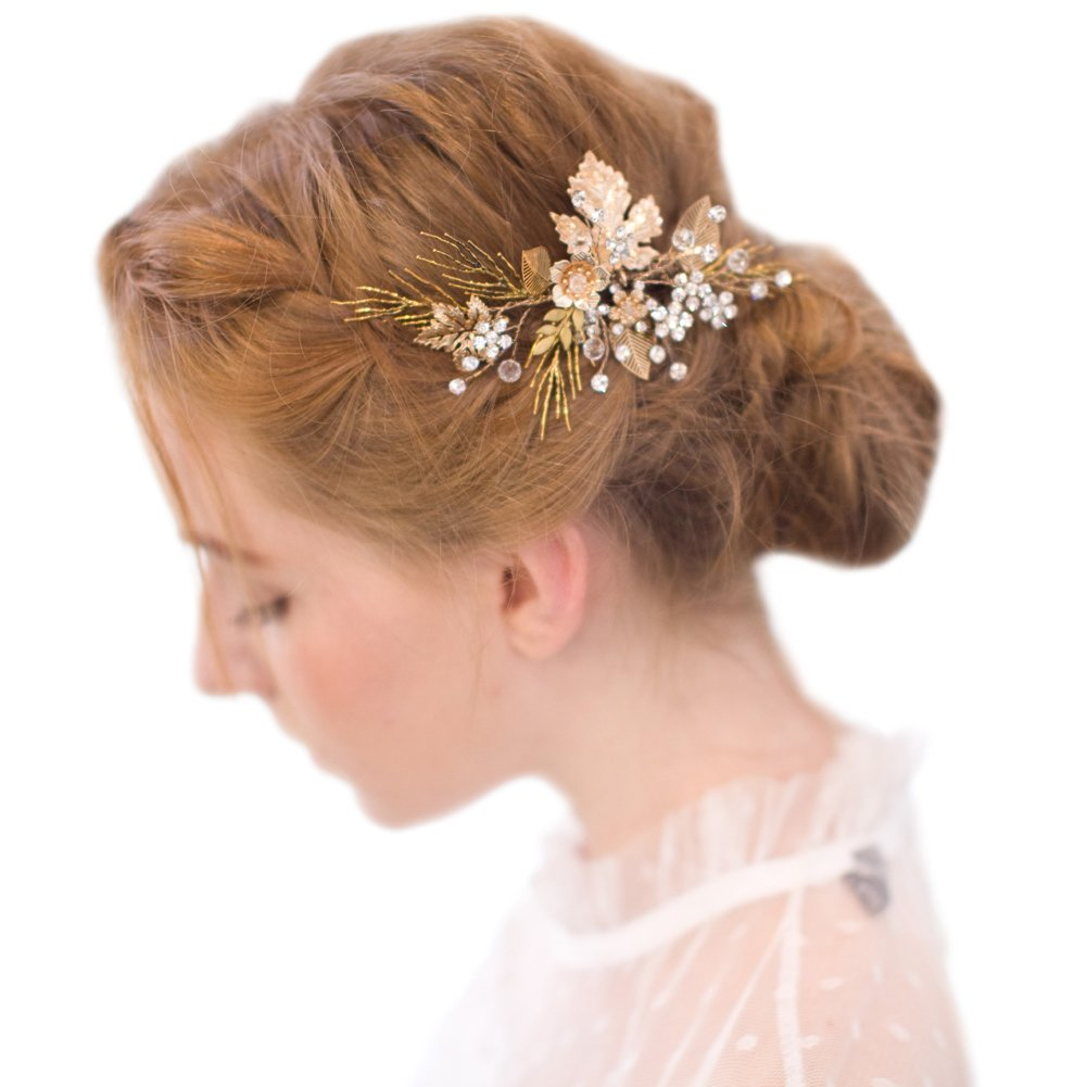 FAYBOX Vintage Gold Twig Hair Clips Bridal Headpiece Wedding Accessories 0
