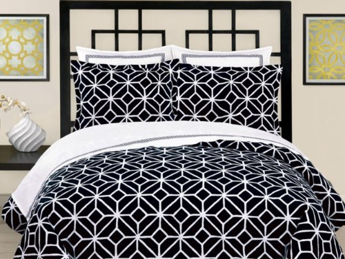 Palm Springs Blocks Euro Sham-Black front-863563