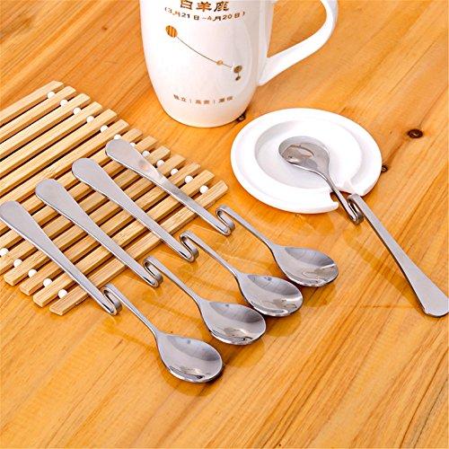 HSE 5 Pcs Stainless Steel Spoon Bending Hanging Cup Stainless Steel Coffee Spoon Bent Suspension Jam Spoon