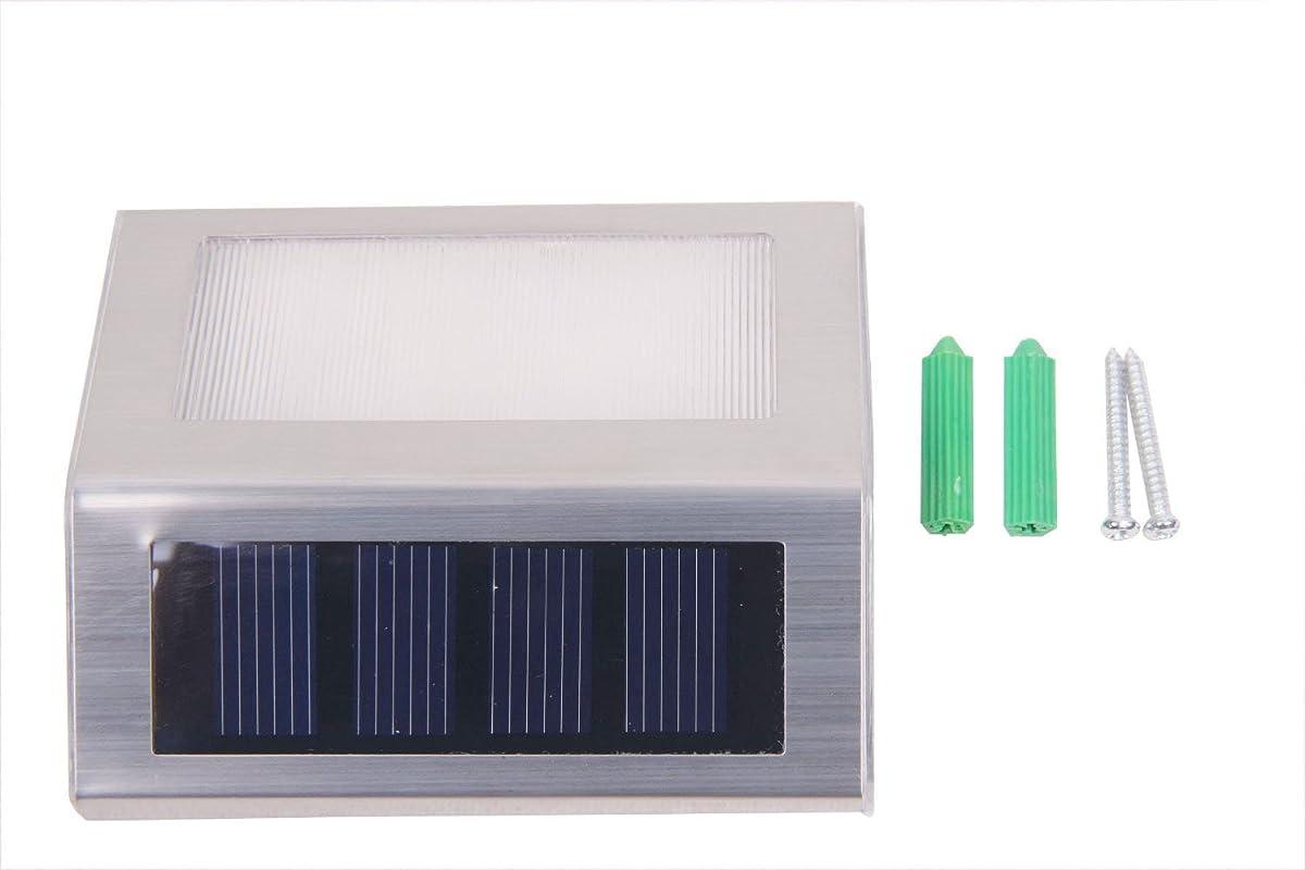 HOSL 4 Pack Upgrated Solar Powered Stainless Steel Staircase LED Solar Step Lights, Solar Dock Light