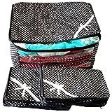 Indi Bargain Black 3 Layered Quilted Printed Transparent Multi Saree Cover (10-15 Sarees Capacity) - Set of 3