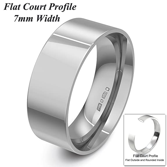 Xzara Jewellery - Palladium 950 7mm Flat Court Profile Hallmarked Ladies/Gents 5.8 Grams Wedding Ring Band