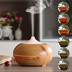 300ml Aroma Essential Oil Diffuser,URPOWER® New Wood Grain Ultrasonic Cool Mist Whisper-Quiet Humidifier with Color LED Lights Changing and 4 Timer Settings,Waterless Auto Shut-off for Spa,Home,Office
