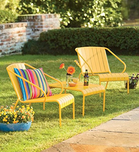 Yellow Outdoor Patio Furniture, Three-Piece Café Set