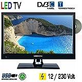 "LED TV Backlight 15.6"" Zoll 39,6cm Fernseher DVD DVB-C -T 230V USB HDMI 12 Volt für Womo Caravan Wohnwagen Boot etc."
