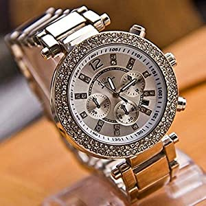 Best Brand New Silver Geneva Alloy Double Rhinestone Luxury Fashion Women's Watch