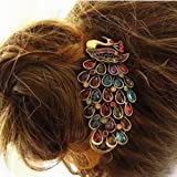 World Pride Retro Vintage Colorful Crystal Peacock Hairpin Hair Clip