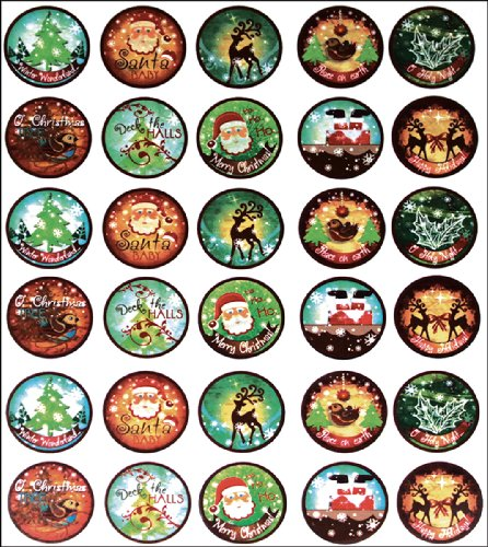 "Vintage Collection Bottle Cap Images 1"" 65/Pkg-Santa Baby"