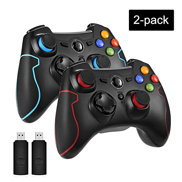 EasySMX 2.4G Wireless Controller for PS3, PC Gamepads with Vibration Fire Button Range up to 10m Support PC (Windows XP/7/8/8.1/10), PS3, Android, Vista, TV Box Portable Gaming Joystick (2 Pack) (Color: black blue and black red)