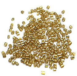 Beadsnfashion Seed Bugles Beads Golden (100 Gm) , Size 11/0