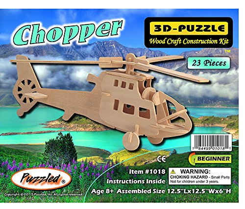 Puzzled Chopper Wooden 3D Puzzle Construction Kit - 1