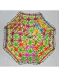 Classical Indian Handcrafted Embroidery Work Cotton Umbrella Yellow 24 X 28