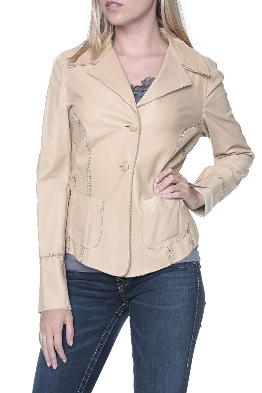 Cristiano di Thiene Damen Jacke Lederjacke NATURELLE SG, Farbe: Beige kaufen