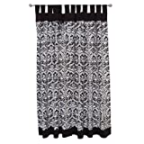 Tadpoles Damask Set of 2 Tab Top Curtain Panels, Black/White