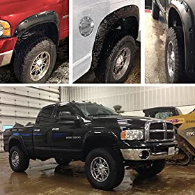 """OxGordu00ae 4pc Set Fender Flares Fits 02-08 Dodge Ram 1500/2500/3500 Bolt On Pockets Off Road Matt Black Style """"OEM Paintable Factory Replacement"""" Kit for Front, Rear, Left & Right Pairs 