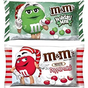 Peppermint White Chocolate M&M's and Holiday Mint M&M's Limited Edition (2 pack)