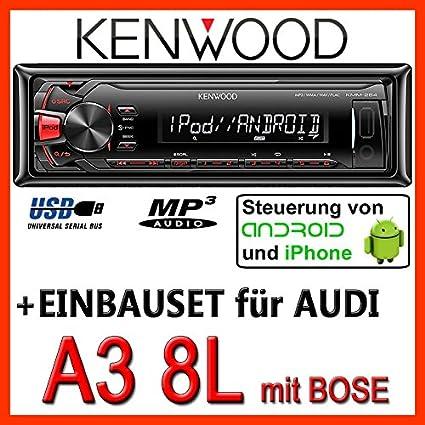 AUDI a3 8L kenwood kMM - 264/mP3/uSB pour casque bose avec système de fixation
