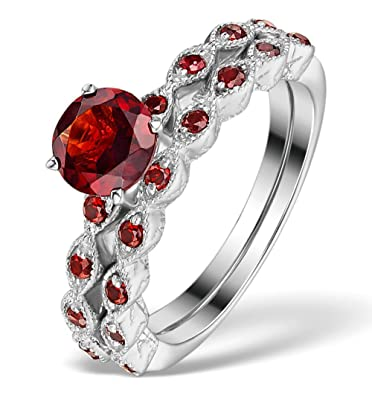 TheDiamondStore | Two Ring Garnet Stacking Set - Sterling Silver