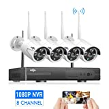 Security Camera System Wireless,HD Video Security System[8CH Expandable System] 4Pcs 960P 1.3MP IP Security Camera Wireless Indoor/Outdoor IR Bullet IP Cameras WiFi,P2P, NO Hard Drive,HisEEu IP Pro (Color: 4pcs 960P Cams+8CH 1080P NVR(NO HDD))