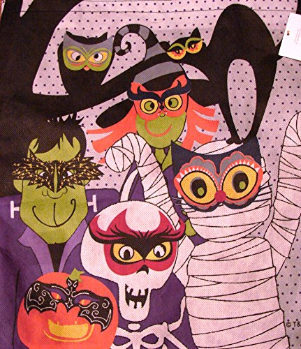 Large Halloween Trick or Treat Bag Candy Tote~Black with Mummies & Monsters - 1